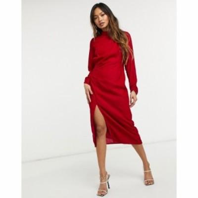 ホープ&アイビー Hope and Ivy レディース ワンピース ミドル丈 ワンピース・ドレス velvet ruched midi dress with thigh split in red