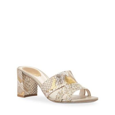 レネ・カオヴィラ レディース サンダル シューズ Block-Heel Python Slide Sandals