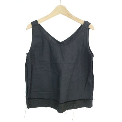 MM6 エムエムシックス 15SS コットンリネンノースリーブTシャツ ブラック 38 レディース