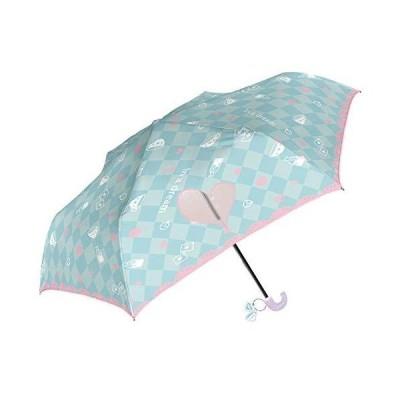 折りたたみ傘 子供 キッズ 手開き 軽量 親骨50cm 開閉らくらく 指をはさまない 女の子 アリス ki-086 (ミント)