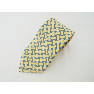 #apzt エルメス HERMES ネクタイ 黄 シルク フランス製 メンズ [597885]
