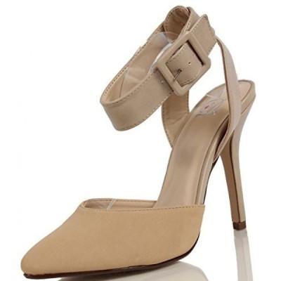 デリシャス レディース パンプス Delicious Women's Rosita Pointed Toe Ankle Strap Single Soles High Heel, Oat, 9 M US