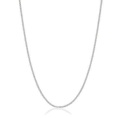 ファッションアクセサリー アンブランデッド Italian Rhodium-plated Sterling Silver 1mm Rolo Chain White