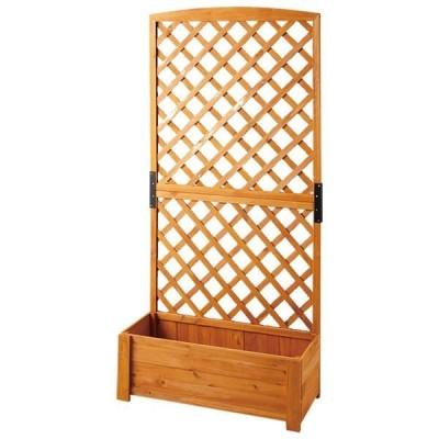 組立簡単 ラティス/ガーデンラック 3点セット 〔格子タイプ 高さ150cm〕 プランターカバー付き 木製 組立品 〔園芸用品〕