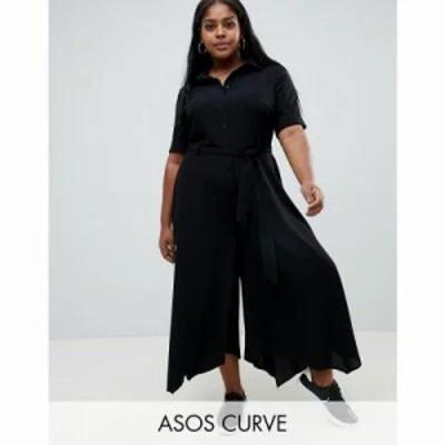 エイソス オールインワン ASOS DESIGN Curve shirt jumpsuit with hanky hem and belt detail Black