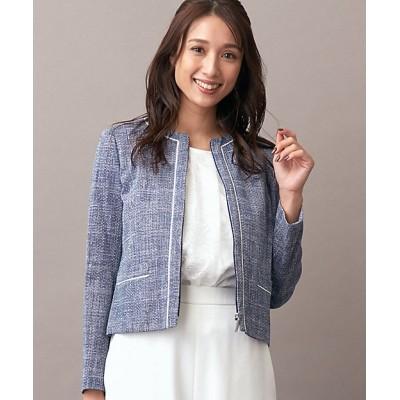 <Leilian(Women)/レリアン> ノーカラージャケット アオ【三越伊勢丹/公式】