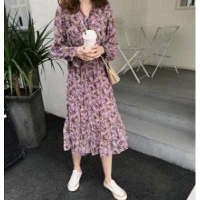 韓国 ファッション レディース ワンピース 花柄 Vネック ロング ミモレ丈 長袖 ゆったり 上品 きれいめ 大人可愛い フェミニン 春 新作