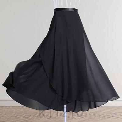 レディーススカート夏シフォンフレアスカートラップスカートアンクル丈ロングプリーツハイウェストワンサイズ