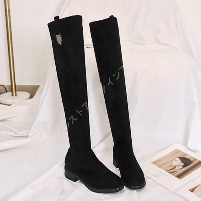 レディース ニーハイブーツ スエード ローヒール ロングブーツ 長靴 長ブーツ ハイカットブーツ 歩きやすい 美脚 秋 冬 コスプレ 靴 カジュアル ファッション
