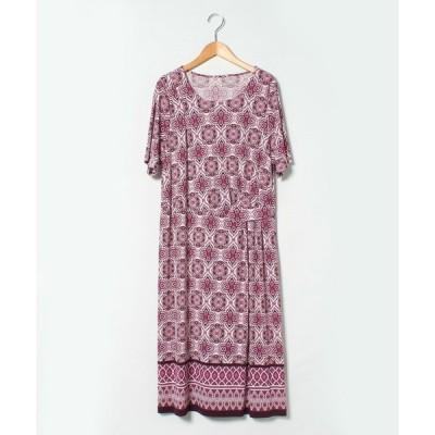【ラピーヌ ルージュ】【大きいサイズ】【洗える】ジョイクール幾何柄パネルプリントドレス