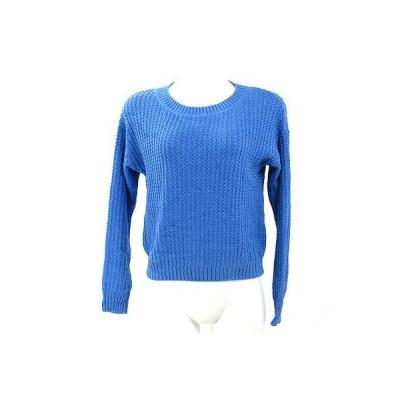 インディヴィ(INDIVI)ブルー変形ゴム編み長袖ニット 38