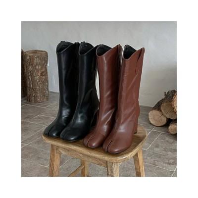足袋 ロングブーツ ミドルブーツ ウエスタンブーツ ハイヒール 丸ヒール レディース 靴 婦人靴 黒 茶色 ブラック ブラウン タビ tabi 足袋ブーツ
