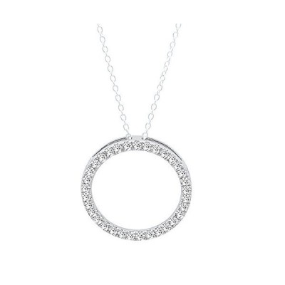 0.33 Carat (ctw) Round White Diamond Circle Pendant 1/3 CT (Silver Chain Included), 10K White Gold【並行輸入品】
