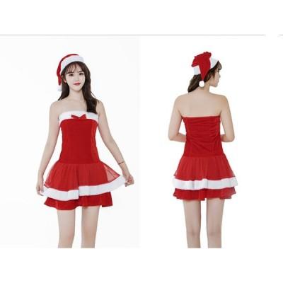 クリスマス衣装 レディース サンタクロース ワンピース+帽子 2点セット サンタ服装 演出服 コスチューム大人 女性用 可愛い セクシー イベント