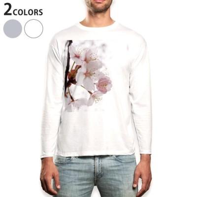 ロングTシャツ メンズ 長袖 ホワイト グレー XS S M L XL 2XL Tシャツ ティーシャツ T shirt long sleeve  桜 花 春 012849