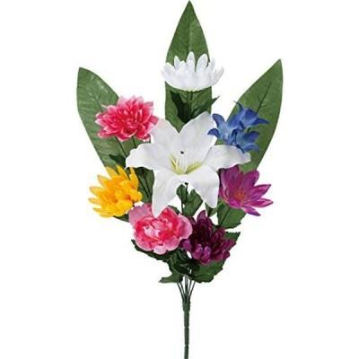 ポピー(Popy) 造花 仏花ブッシュLL ミックス 全長60cm・花径6~17cm・幅29cm FP-0832MIX