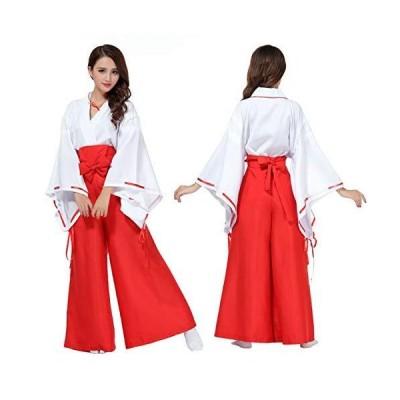コスプレ 衣装 巫女 コスチューム 衣装 白紐 赤袴 赤太帯 リボン cos1012 (M(155165cm))
