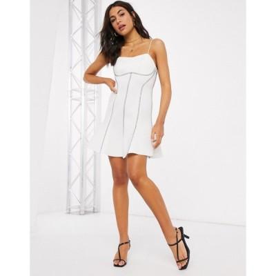 エイソス ミニドレス レディース ASOS DESIGN top stitch seamed cami skater mini dress in ivory エイソス ASOS