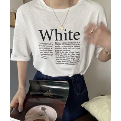 tシャツ Tシャツ レディース オーバーサイズ半袖ロゴTシャツ