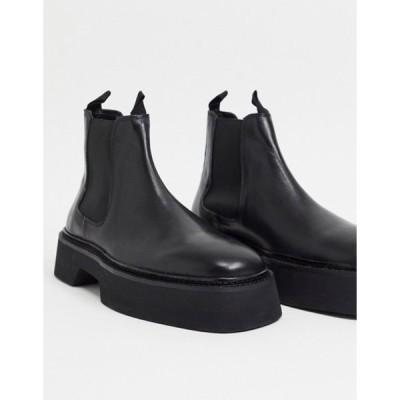 エイソス メンズ ブーツ・レインブーツ シューズ ASOS DESIGN chelsea square toe boots in black high shine leather