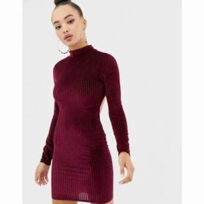 ミスガイデッド ワンピース ribbed velvet open back mini dress in burgundy Burgundy