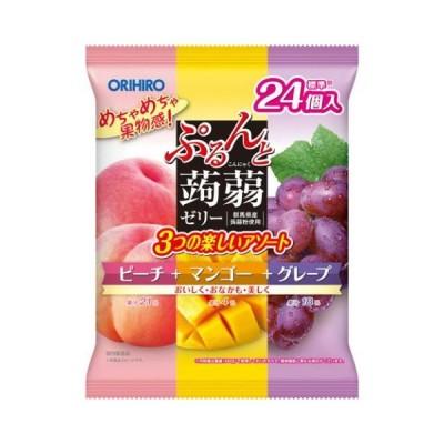ぷるんと蒟蒻ゼリー アソート大袋 ピーチ+マンゴー+グレープ 20g*24個入 /ぷるんと蒟蒻ゼリー