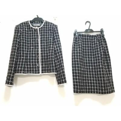ハナエモリ HANAE MORI スカートスーツ サイズ11A3 レディース 美品 黒×ピンク【中古】20200618