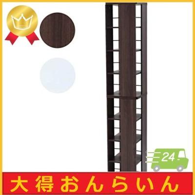 [山善] 回転本棚 8段 幅45奥行45高さ182.5cm 壁付け・角置き可 コンパクト 大容量 組立品 ウォルナット DSRR-8(WL)