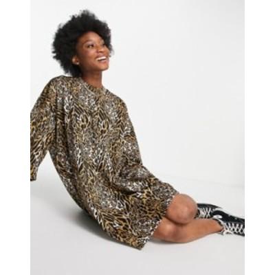 エイソス レディース ワンピース トップス ASOS DESIGN oversized T-shirt dress in brown textured leopard print Brown leopard