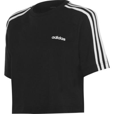 アディダス adidas レディース フィットネス・トレーニング Tシャツ トップス 3S Crop T Shirt Black/White