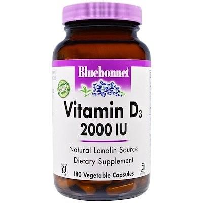 Vitamin D3, 2,000 IU, 180 Vegetable Capsules
