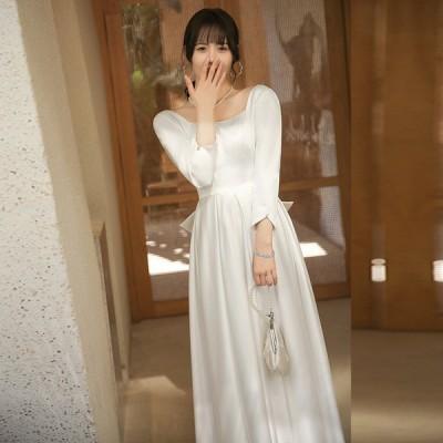 ウエディングドレス Aライン 袖あり ソフトサテン 二次会 フォト 前撮り ウェディングドレス 結婚式 花嫁 v59