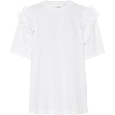 ヴィクトリア ベッカム Victoria Victoria Beckham レディース Tシャツ トップス Ruffled organic-cotton T-shirt White