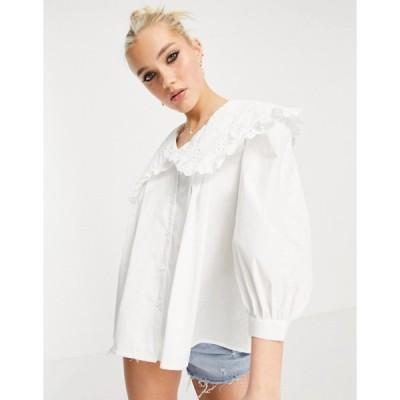 ニュールック レディース シャツ トップス New Look cutwork embroidered collar shirt in white