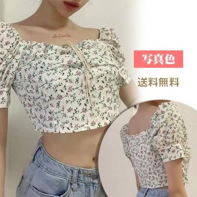2021新作 へそ出しTシャツ 半袖 レディース カットソー ラウンドネック ショート丈 花柄 リブボリュームスリーブ スリム 着痩せ 女性用 夏 ゆったり 送料無料