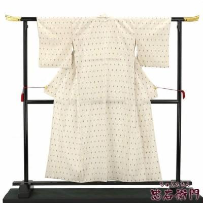 単衣 御召 中古 正絹 裄64 リサイクル 着物 オフ白 亀甲絣 あすつく対応