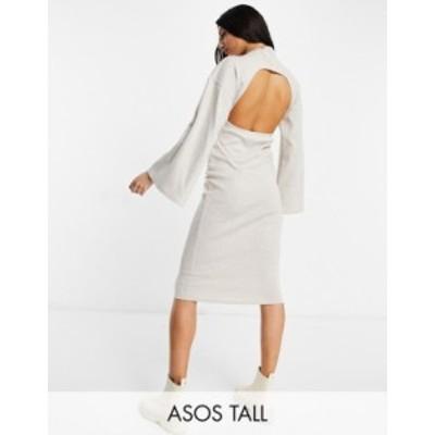 エイソス レディース ワンピース トップス ASOS DESIGN Tall brushed rib batwing midi dress in oatmeal Oatmeal