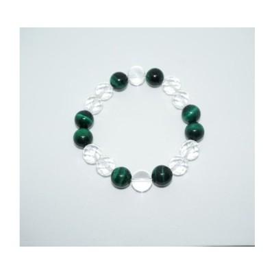 ブレスレット GREEN TIGER'S EYE × 水晶
