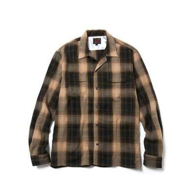 シャツ ブラウス L/S Plaid Open Collar Shirts