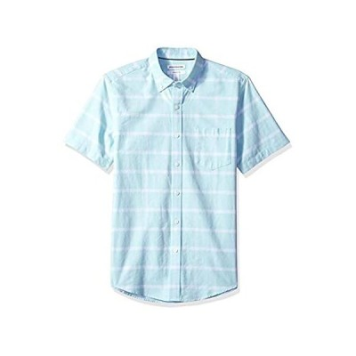 [  Essentials] スリムフィット 半袖 ポケット付き オックスフォードシャツ メンズ アクアウィンドウペイン 3XL