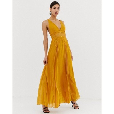 エイソス レディース ワンピース トップス ASOS DESIGN cami maxi dress in crinkle chiffon with lace waist and strappy back detail Gold