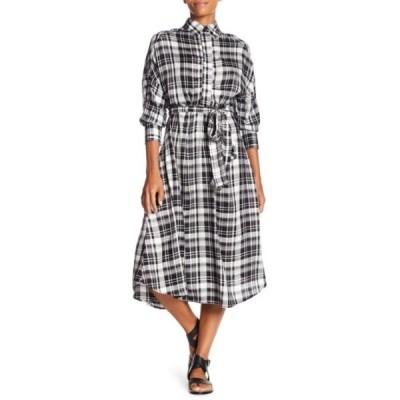 エヴァフランコ レディース ワンピース トップス Matilda Printed Midi Shirt Dress WHITE/BLACK PLAID