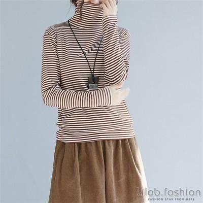 カットソー tシャツ レディース トップス 秋 冬 Tシャツ 長袖 大きいサイズ ハイネック ボーダー柄 シンプル ゆったり 体型カバー 新着 コーデ