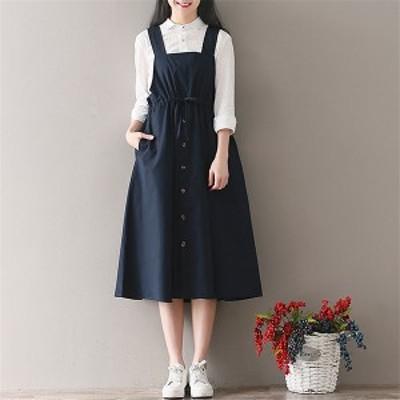 大きいサイズ 春夏 新作 レディース/サロペット スカート ジャンパー スカート ワンピース/M L XL XXL