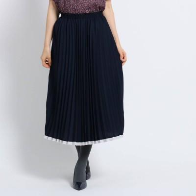 スーナウーナ SunaUna 【洗える】アコーディオンプリーツスカート (ネイビー)