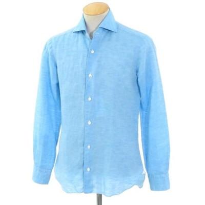 バルバ ダンディライフ BARBA DANDY LIFE リネンコットン ホリゾンタルカラーシャツ ブルー 38