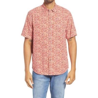 トミー バハマ TOMMY BAHAMA メンズ 半袖シャツ トップス Bamboo Tiles Short Sleeve Silk Button-Up Shirt Boomerang Red