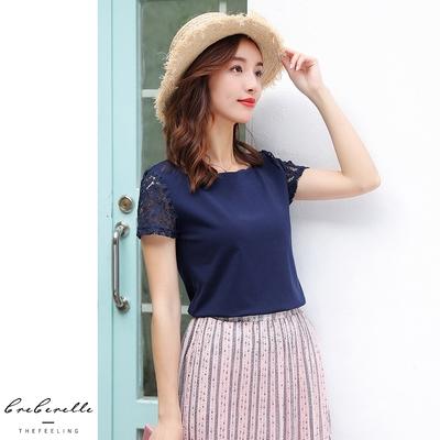 UGIZ-(限時)韓系蕾絲緹花袖造型上衣-墨藍(M-2XL)