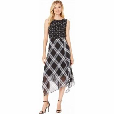 ヴィンス カムート Vince Camuto レディース ワンピース ワンピース・ドレス Windowpane Uneven Hem Mix Print Dress Rich Black