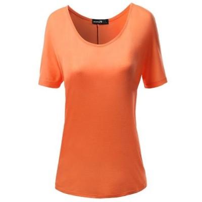 レディース 衣類 トップス FashionOutfit Women's Solid Boatneck Dolman T-shirt Tops ブラウス&シャツ